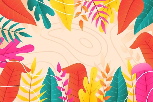 Fundo colorido de verão com folhas