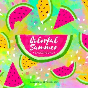 Fundo colorido de verão com melancia