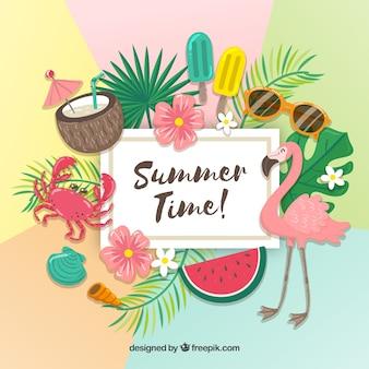 Fundo colorido de verão com muitos elementos
