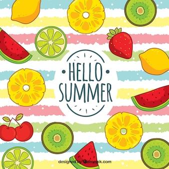 Fundo colorido de verão com padrão de frutas
