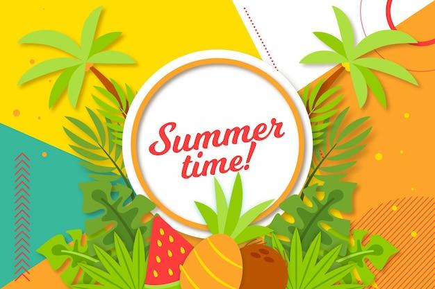 Fundo colorido de verão com palmeiras