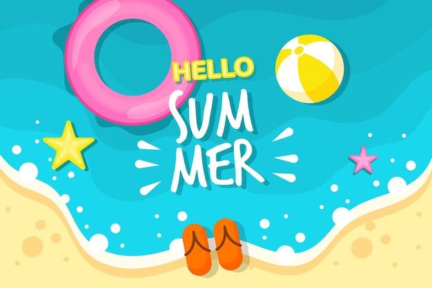 Fundo colorido de verão com praia e estrelas