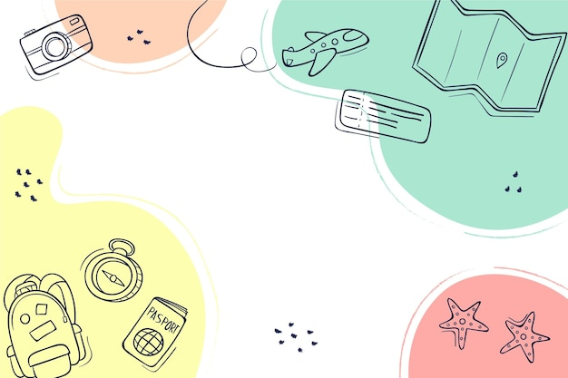 Fundo colorido desenhado à mão para viagens