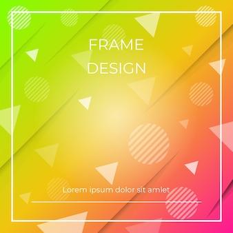 Fundo colorido diagonal dinâmico geométrico com formas de triângulos e círculos, sombra de papel. Vetor Premium
