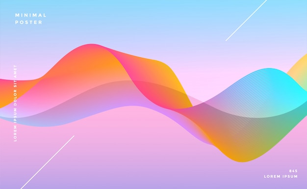 Fundo colorido dinâmico onda vibrante