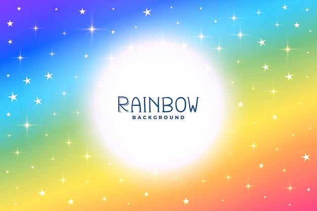 Fundo colorido do arco-íris com estrelas e brilhos