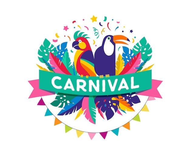 Fundo colorido do carnaval brasileiro com papagaio e tucano