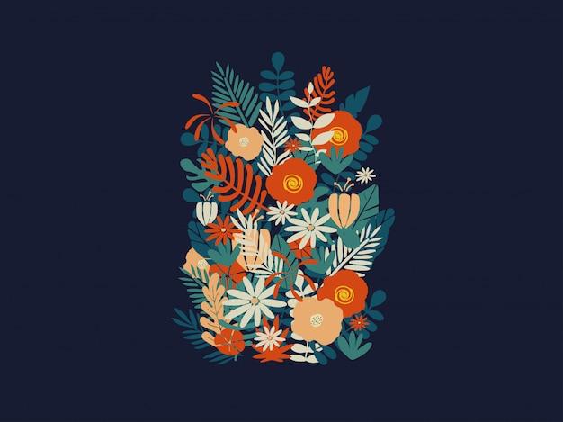Fundo colorido do cartaz de flores e folhas