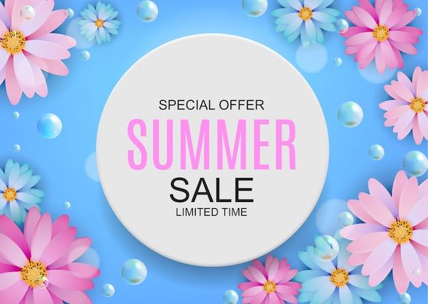 Fundo colorido do conceito de venda de verão. ilustração vetorial