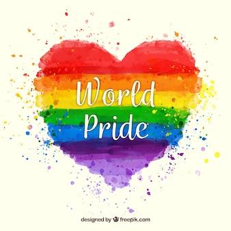 Fundo colorido do coração da aguarela do orgulho