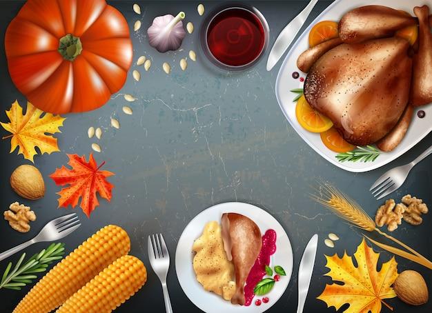 Fundo colorido do dia de ação de graças com pratos sobre as bebidas de mesa festiva turquia e outros lanches vector a ilustração