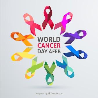 Fundo colorido do dia do câncer mundial