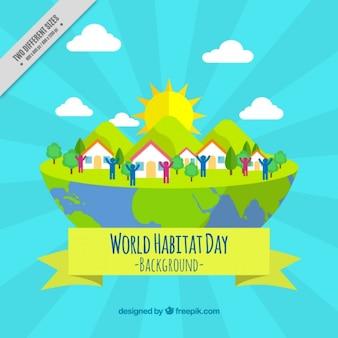 Fundo colorido do dia do habitat do mundo