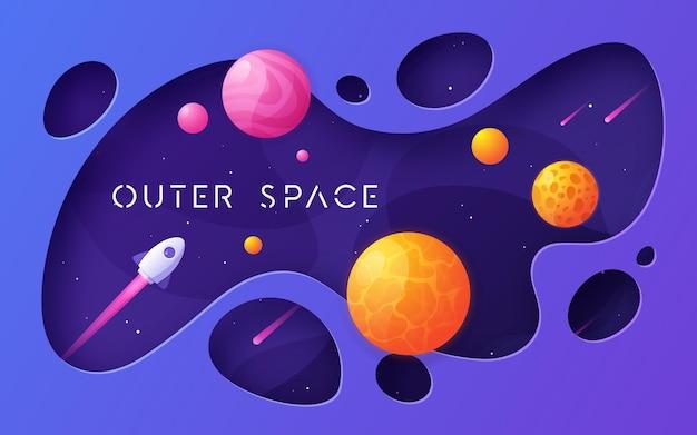 Fundo colorido do espaço sideral de desenho animado
