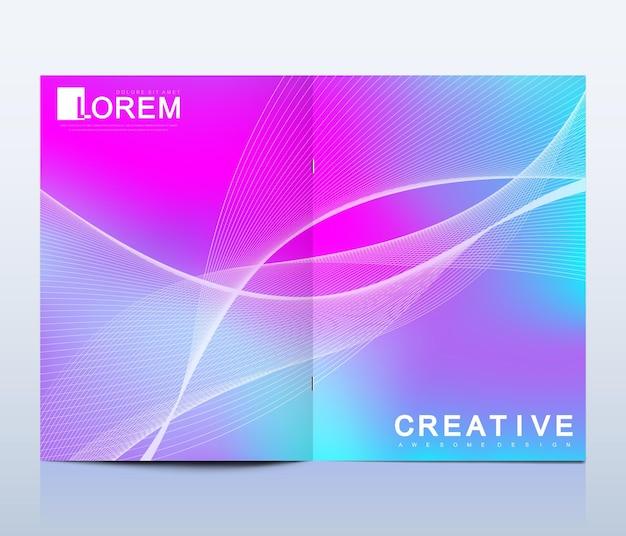 Fundo colorido do folheto com ondas dinâmicas