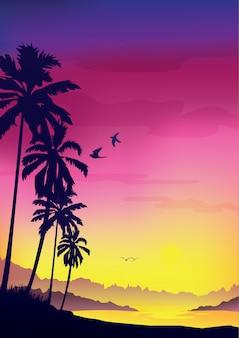 Fundo colorido do verão, fundo com a silhueta das palmeiras e nascer do sol tropical.
