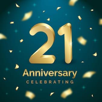 Fundo colorido dourado do 21º aniversário