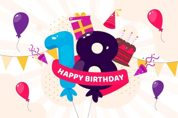 Fundo colorido feliz aniversário de 18 anos