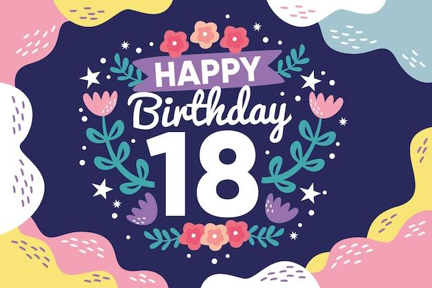 Fundo colorido feliz aniversário de dezoito anos