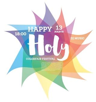 Fundo colorido feliz holi. ilustração vetorial.