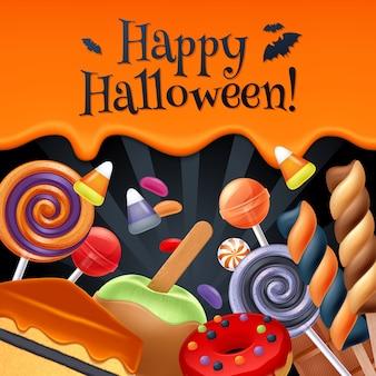 Fundo colorido festa de doces de halloween