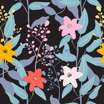 Fundo colorido floral padrão sem emenda