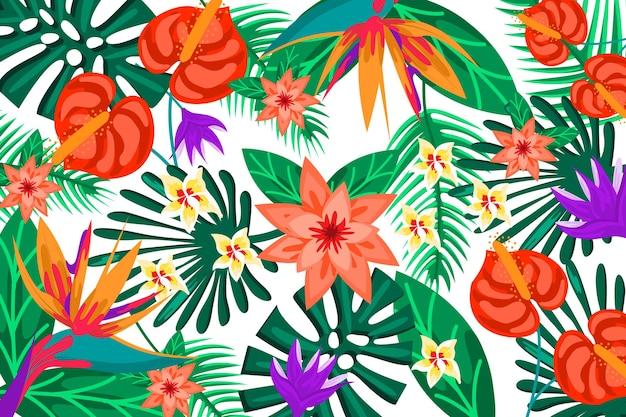 Fundo colorido flores exóticas