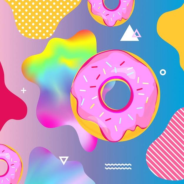 Fundo colorido fluido com donuts
