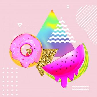Fundo colorido fluido com melancia e donut