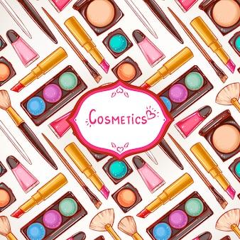 Fundo colorido fofo com cosméticos femininos e lugar para texto
