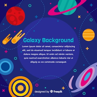 Fundo colorido galáxia com design plano