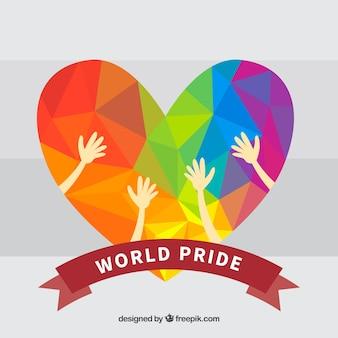 Fundo colorido geométrico do coração do orgulho