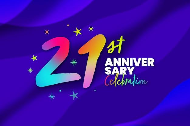 Fundo colorido gradiente de vinte e um aniversário