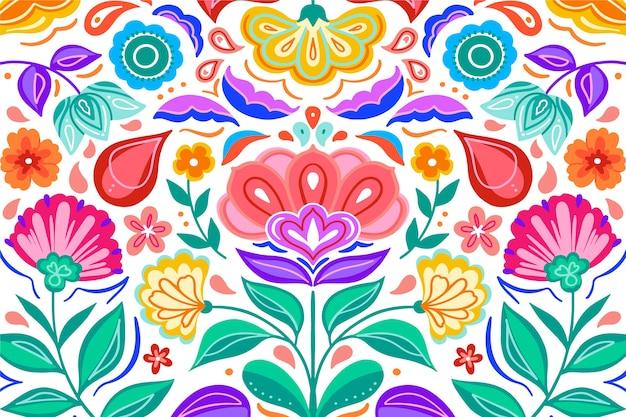 Fundo colorido gradiente flores mexicanas