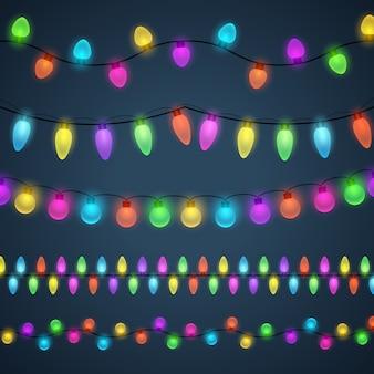 Fundo colorido guirlandas de luz
