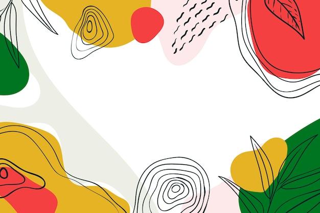 Fundo colorido minimalista desenhado à mão