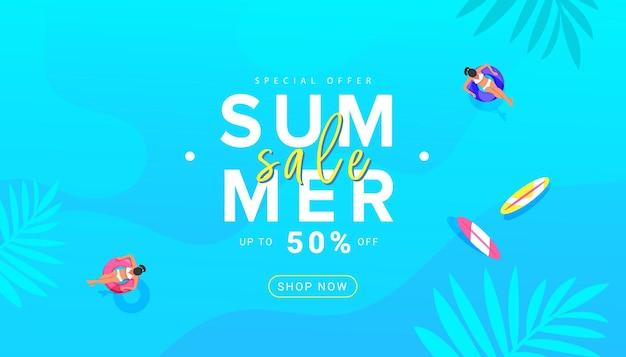 Fundo colorido moderno com design de banner de venda de verão com acessórios de praia