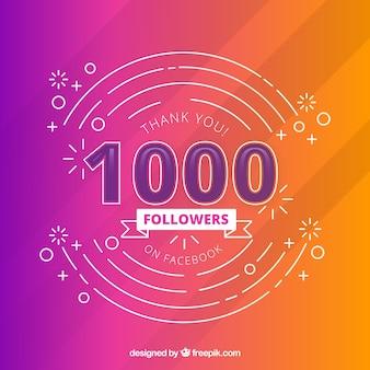 Fundo colorido moderno de seguidores de 1k