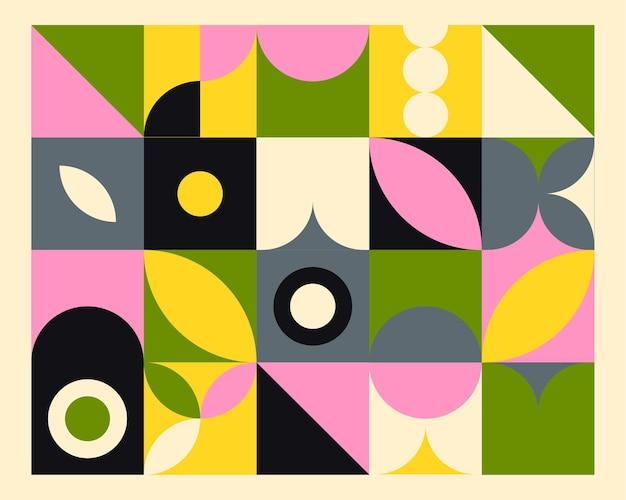 Fundo colorido mural geométrico abstrato no estilo bauhaus.