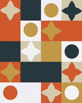 Fundo colorido mural geométrico abstrato no estilo bauhaus