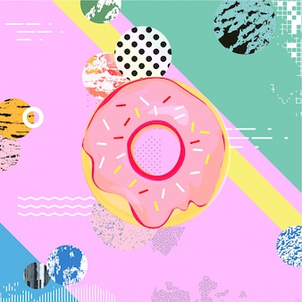 Fundo colorido na moda com donut
