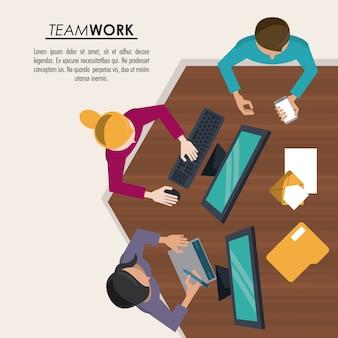 Fundo colorido na parte superior do poster do trabalho em equipe