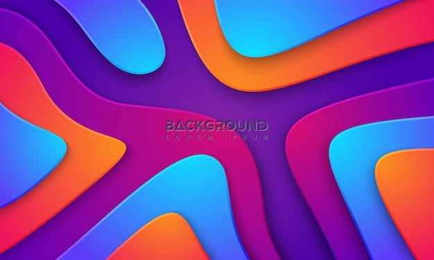 Fundo colorido ondulado com estilo 3d.