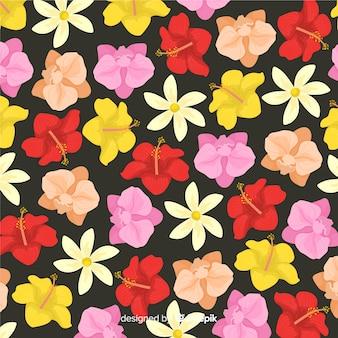 Fundo colorido padrão de flor tropical