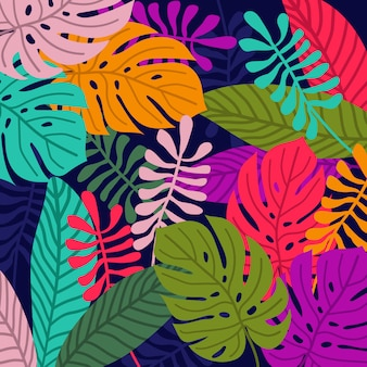 Fundo colorido padrão tropical