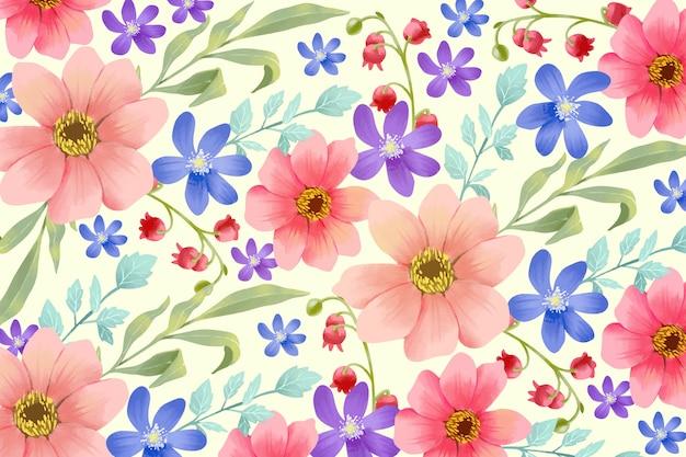 Fundo colorido pintado flores
