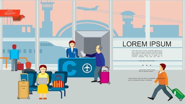 Fundo colorido plano de aeroporto