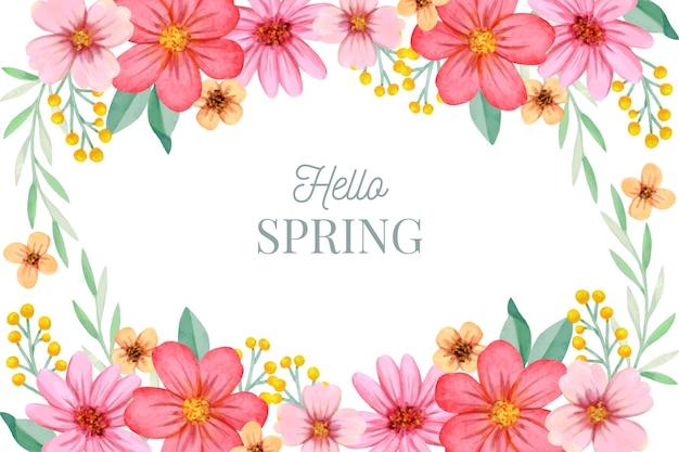 Fundo colorido primavera aquarela