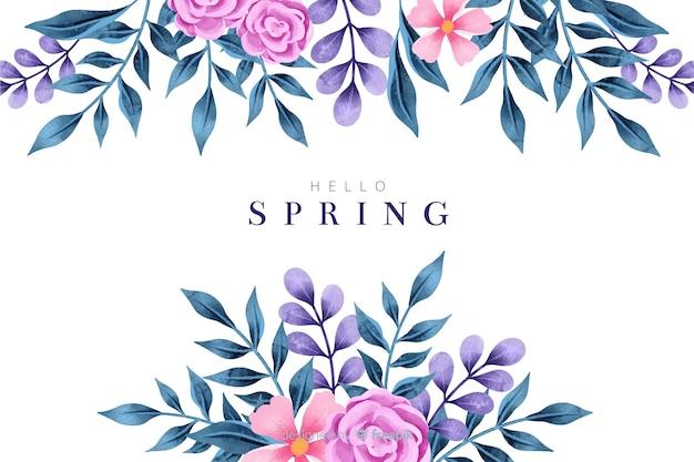 Fundo colorido primavera com flores em aquarela