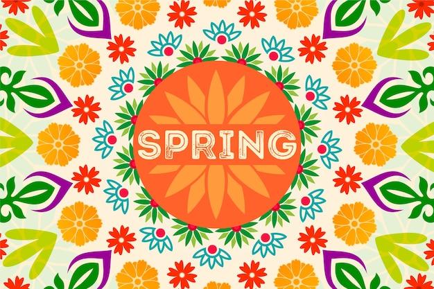 Fundo colorido primavera com flores